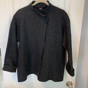 Eileen Fisher boiled wool snap jacket size medium